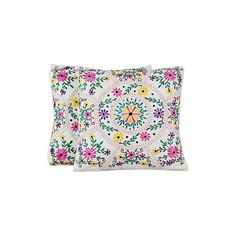 NOVICA Bright Flower Embroidery White Cotton Cushion Covers (Pair) ($40) ❤ liked on Polyvore featuring home, home decor, throw pillows, cushion covers, pillows & throws, white, flower home decor, white home decor, embroidered throw pillows and novica