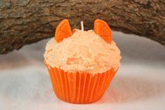 Cupcake Candles Jumbo Orange Cupcake by CountryRichCreations