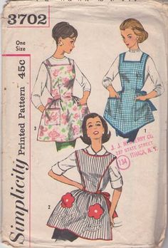 Simplicity 3702 Vintage 60's Sewing Pattern CLASSIC Retro Housewife Cobbler Apron Set, Bib Front, Back Straps, Flower Pockets #MOMSPatterns