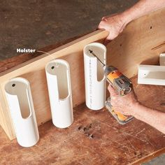 Woodworking Designs PVC pipe holsters project - Learn how to build a drill dock organizer to keep your workshop neat and clutter free!