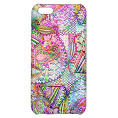 Abstract Girly Neon Rainbow Paisley Sketch Pattern iPhone 5C Case
