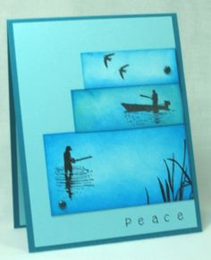 By cjzim at Splitcoaststampers. Masculine card. Inks: Distress tumbled glass & salty ocean; Memento Tuxedo Black. Backgrounds of image panels were sponged. Fishing images from Stampscapes.