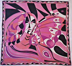 "ITALY-VINTAGE EMILIO PUCCI ABSTRACT FEMALE FANTASIES PINK SILK 34"" SQUARE SCARF #EmilioPucci #Scarf"