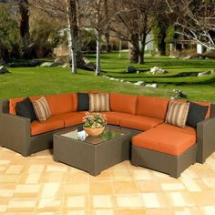 Melrose All-Weather Wicker outdoor Sectional seating –Seats up to 7 Sectional Patio Furniture, Acrylic Furniture, Patio Furniture Sets, Outdoor Sectional, Outdoor Lounge, Outdoor Seating, Sectional Sofa, Garden Furniture, Outdoor