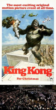 1976 — King Kong, produced by Dino DeLaurentiis, starring Jeff Bridges, Charles Grodin and introducing Jessica Lange — I lived in TriBeca when this was being filmed. I walked down and watched them shoot the scene at the World Trade Center where Kong dies.