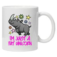 I'm just a Fat Unicorn Dishwasher&Microwave Safe white mug coffee mugs Tea Cups make your own Message Mugs Ceramic gift Cup