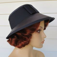 Vintage Navy Blue Straw Hat ... Bernard by abbeysaccessories, $45.00