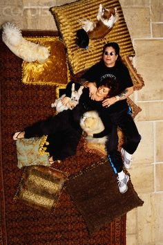 The Osbourne's with their pooches.