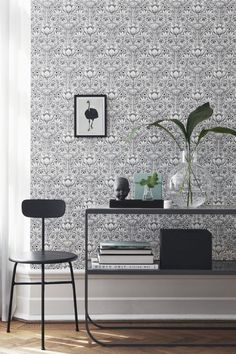 Обои 6086 Eco Black and White - Artique Kitchen Wallpaper, Home Wallpaper, Grey And White Wallpaper, Scandinavian Wallpaper, Rich Home, Black White, Botanical Wallpaper, White Rooms, Wall Treatments
