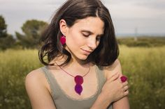 Pendant, ring and earrings handmade with real bougainvillea leaves