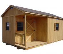 B-STD3-1220-525 12x20 shed with stained T1-11