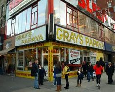 Gray's Papaya Hot Dog, Lincoln Center, NYC.  I have to try one!!!