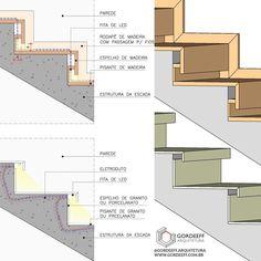 [DETALHE DE ILUMINAÇÃO] - Mais um detalhe de iluminação, esse mostra duas opções para usar fita de LED nos degraus da escada. Quando… Modern Staircase, Staircase Design, Architecture Details, Interior Architecture, Stairway Lighting, Interior Design Presentation, Joinery Details, Stair Detail, Stair Handrail