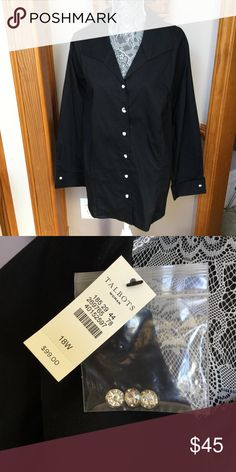 bd43380cf0b2c Talbots black shirt with 3 4 sleeves Has crystal buttons. Perfect black  blouse for