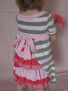 Little girls ruffle bottom dress made from old tshirts