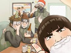 Christmas party ft. Gai, Kakashi, Yamato, and Iruka
