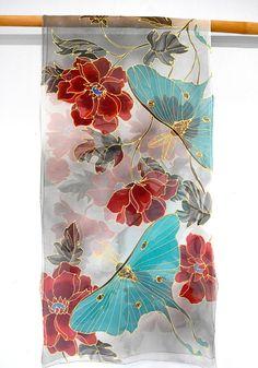 Hand Painted Silk Shawl Japan Scarf Kimono Silk Scarf Luna Hand Painted Sarees, Hand Painted Fabric, Painted Silk, Fabric Painting, Fabric Art, Painting Art, Paintings, Fabric Paint Designs, Japon Illustration