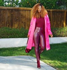 Tanasha wears burgundy and a pink coat | 40plusstyle.com How To Wear Leggings, Best Leggings, Wear Red, Photos Of Women, Fashion Over 40, Red And Pink, Red Leather, Leather Jacket, Hourglass Shape