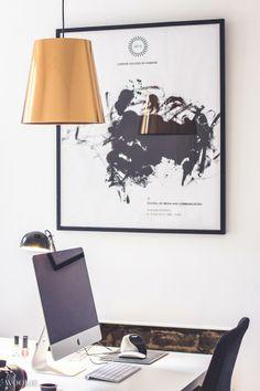 Minimalistic white office interiors mac desk