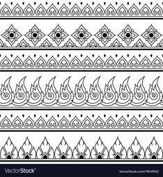 Seamless Thai pattern, repetitive design from Thailand - folk art style Mandala Design, Mandala Pattern, Mandala Art Lesson, Mandala Drawing, Doodle Patterns, Zentangle Patterns, Doodle Borders, Pattern Drawing, Pattern Art