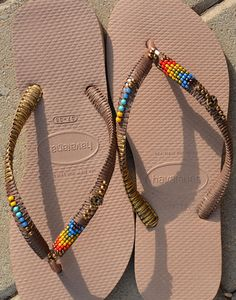 Rose Gold Havaianas Flip Flops, Boho Decorated Sandals, Bohemian Shoes, Beaded Flip Flops, Hippie Gipsy Chic Beach Sandals  Bohemian Beaded Havaianas Flip Flop - 100% Handmade.  You can decorate your hands, ears, neck but also … your feet!  These are an absolutely unique Must Have Flip Flops!!! The combination between style and comfortable at the same pair of sandals.  By decorating I used professional jewelry techniques and the highest quality materials varying from japanese beads, sterling…