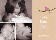 Little Birdie Birth Announcement. Love this one!