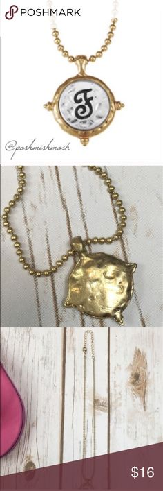 """🇺🇸4 FOR $13 MEGA SALEMonogram F Initial Necklace Two-tone artisan hammered monogram F initial pendant on a trendy ball chain create this must-have necklace.  Approx. length is 15"""" + 3 inch extender with lobster clasp closure.   🔺Questions? Please ask.  🔺I want your Poshmark experience to be easy & enjoyable. 🔺Thank you for shopping at Posh Mishmosh. Posh Mishmosh Jewelry Necklaces"""