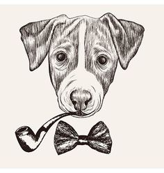 Sketch Jack Russell Terrier Dog with bow tie and pipe on Behance