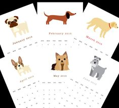 Illustrated Dog Calendar from Square Paisley Design