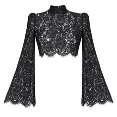 Rasario Cropped Lace Top (€750) ❤ liked on Polyvore featuring tops, crop top, black, flared sleeve crop top, form fitting tops, bell sleeve tops and lace mock neck top