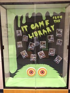 "October Book Promotion. ""It came from the library..."" (blob dripping slime)"