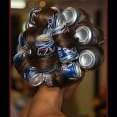 Who needs hot rollers? Spray hairspray and blow dry- the cans will heat up and really define those curls! Again, any excuse to be like Lady Gaga for a day. White Trash Wedding, White Trash Party, Lady Gaga, White Trash Costume, Updo, Trailer Trash Party, What A Nice Day, Redneck Party, Hillbilly Party