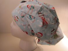 Sock Monkeys!! This fabric features sock monkeys wearing red and green hats and scarves. So cute. Have some fun at work.  The just right scrub hat.