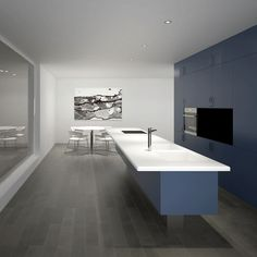 Contemporary blue and grey kitchen