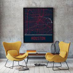Houston TX Map, Art, Print, Poster, Wall Art.