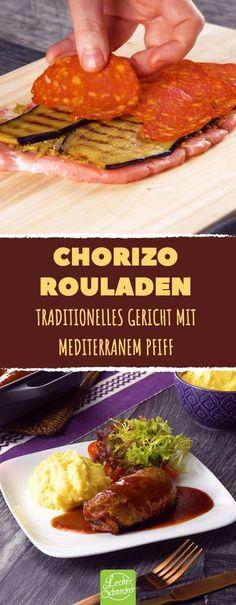 Keine 08/15-Rouladen! Die Füllung entfacht ein wahres Aromen-Feuerwerk! #leckerschmecker #kochen #rezept #roulade #fleisch #braten #mittagessen #essen #chorizo #aubergine #traditionell #antipasti #rotwein #brühe #soße #schnitzel #hämmern #steak #schweinesteak #schweinefleisch #salami #wurst #aufschnitt