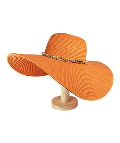 Take a look at this Orange Beaded Floppy Sunhat by Violet Del Mar on #zulily today!