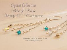 Swarovski Blue Zircon & Clear AB Crystals Drop/Dangle Earrings Silver Multi-Strand chain