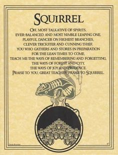 SQUIRREL Poster Parchment Page Spirit Guide Wicca Parchment Book of Shadows  BOS