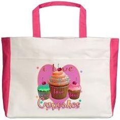 I Love Cupcakes Beach Tote