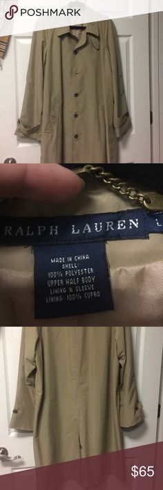 Ralph Lauren duster/trench Tan lovely tea length coat. Worn once, great piece to add to your closet!!! Polo by Ralph Lauren Jackets & Coats Trench Coats
