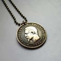 antique 1854 France 10 centimes coin pendant necklace jewelry Napoleon III Emperor French Empire Eagle bird Lille Mint old coin No.001035 by acnyCOINJEWELRY on Etsy