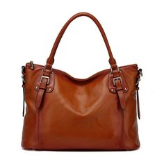 Ryder Leather Shoulder Tote Handbag - Brown Handbags - Vicenzo Leather