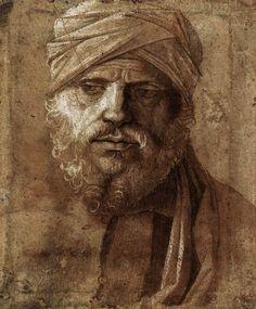 Giovanni Bellini -  Man with a Turban,  1490s -  Drawing /  Galleria degli Uffizi, Florence