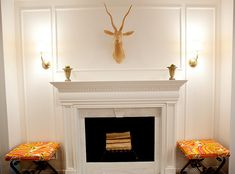 hand carved wood ibex, gorgeous mantel, x benches