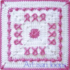 FREE CROCHET PATTERN Breast Cancer Awareness Square pattern by Artisan loops