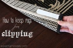 Does is make you crazy when rugs slip and slide on the floor? Me too! This quick tip is how to keep rugs from slipping, it's an easy solution and you're going to wish you'd discovered it years ago | Ask Anna