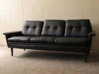 1960's Black Leather 3 Seater Sofa. $2250 from Grandfather's Axe