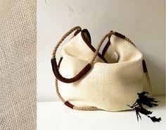 borsa donna regali per lei, borsa pelle e juta, borsa tracolla in corda canapa, abbigliamento donna fatto a mano in negozi italiani by BBagdesign #italiasmartteam #etsy