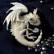 """Dragon brooch """"Snow"""". Brooch beads. Embroidered dragon – shop and order online on Livemaster 